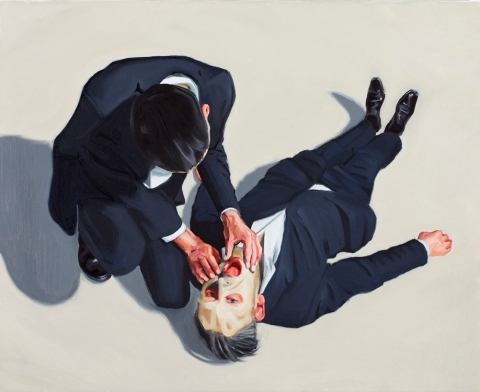 If you could see me (upside down). 80x100 cm. Oil on canvas. 2011.