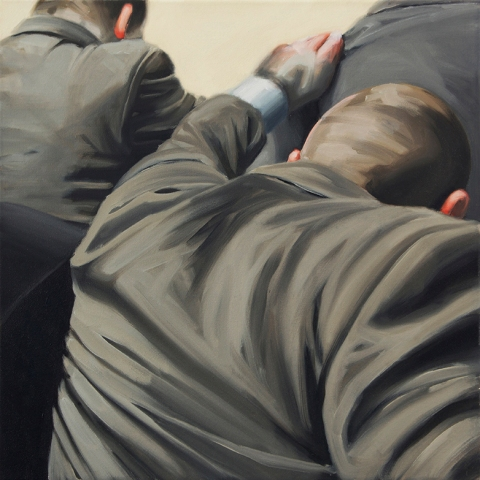 Detail of group dynamics. 50×50 cm. Oil on canvas. 2015