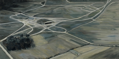 Human relations (The hangar). Oil on canvas. 50 x 100 cm. 2016